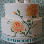 Hand painted Flower Cake topped with sugar Love Birds