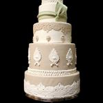 Sage and Tan Wedding Cake with Lace and Pearl Detail