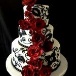 Black and White Cake with handmade Black Magic Roses