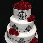 Black and White Damask Design with Handmade Red Roses